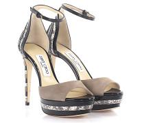 Sandalen Mac 120 Veloursleder beige Lackleder schwarz