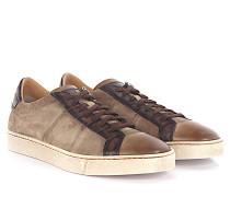 Sneaker Low 20000 Veloursleder Leder taupe finished Leder braun Krokodilprägung