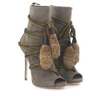 2 Stiefeletten Boots RIRI Peeptoe Plateau Veloursleder