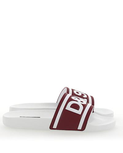 Sandalen SAINT BARTH Leder weiss bordeaux Logo