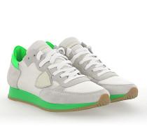 Sneaker TROPEZ Veloursleder Nylon Mesh weiss Leder neon grün