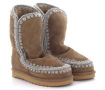 Stiefeletten Boots Eskimo 24 Veloursleder braun Stricknaht grau Schafsfell