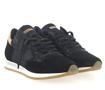 Sneaker TROPEZ Leder Veloursleder schwarz gold Nylon Mesh schwarz