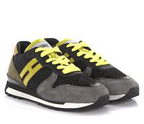 Sneaker Running R261 Veloursleder Mesh grau gelb glitzer