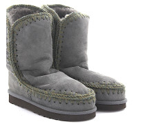 Stiefeletten Boots Eskimo 24 Veloursleder Stricknaht braun Schafsfell