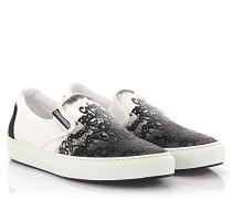 Slip-on Sneaker Teddy Bear Stoff weiss schwarz