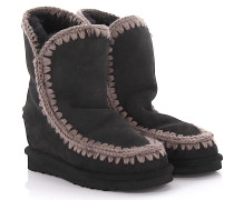 Keilstiefeletten Boots Eskimo Wedge Short Veloursleder Stricknaht grau Schafsfell