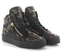 Sneaker Kriss Mid Top Leder schwarz Canvas camouflage