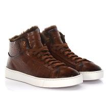 Sneakers 54977 Mid Cut Leder braun Krokodilprägung Lammfell
