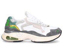 Sneaker low SHARKY Kalbsleder Materialmix Logo grün