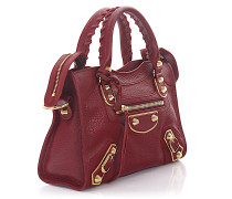 Handtasche Schultertasche Classic Mini City Metall Leder bordeaux grain Nieten gold
