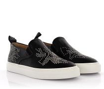 Slip-on Sneaker Leder schwarz Nieten