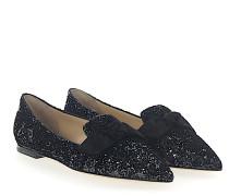 Ballerinas GABIE FLAT Stoff Glitzer grau schwarz