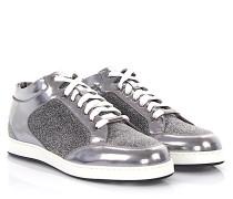 Sneakers Mid Top MIAMI Leder metallic silber Stoff Glitzer