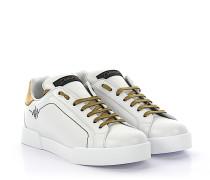 Sneaker PORTOFINO LIGHT Leder weiss gold Schmuckstein