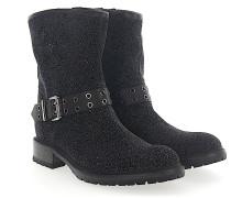 Stiefeletten Boots Stoff schwarz Glitzer multicolor