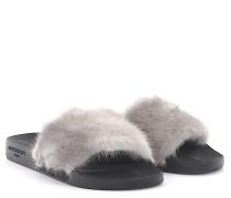 Sandalen Plate Slide Nerzfell Gummi schwarz