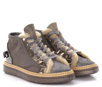 AGL Sneakers Mid Top Lackleder silber Veloursleder finished Lammfell