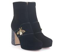 Stiefeletten Boots MALAGA KID Plateau Samt - Biene gold perlmutt Glitzer