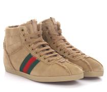 Sneakers Mid Top Veloursleder Webdetail grün rot Lammfell