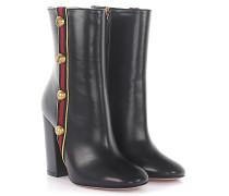 Stiefeletten Boots Leder -Webdetail Nieten gold