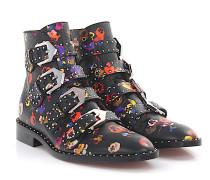 Stiefeletten Boots BE08143 Leder schwarz Blumenmuster