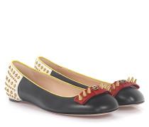 Ballerinas Leder weiß rot Nieten gold Feline-Detail