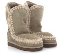 Stiefeletten Boots Eskimo 24 Veloursleder Stricknaht beige Schafsfell
