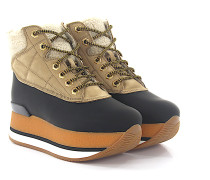 Stiefeletten Boots H328 Plateau Gummi Nubukleder beige Shafsfell