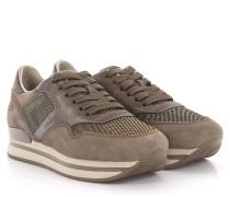 Keilsneakers H222 Veloursleder taupe Leder bronze