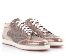 Sneakers MIAMI Leder metallic rosa Stoff Glitzer