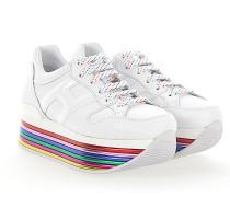 Sneaker H352 Plateau Leder Lackleder weiss Sohle