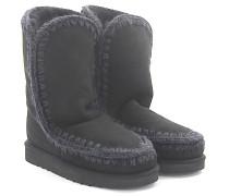 Stiefeletten Boots ESKIMO 24 Veloursleder Stricknaht grau Schafsfell