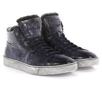 Sneakers 14393 Mid Top Leder Krokodilprägung Lammfell