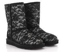 Stiefelletten Boots Classic Short Antoinette Leder Stoff Spitze schwarz Lammfell