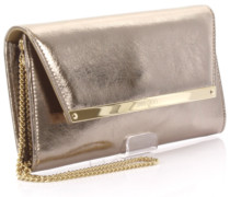 Clutch Margot Leder metallic crinkled