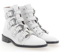 Stiefeletten Boots BE08143 Leder weiss Nieten silber