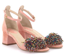 Sandalen 92823 Knöchelriemchen Veloursleder rosa Schmuckverzierung