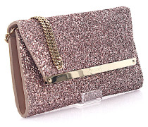 Clutch Margot tearose Glitzer