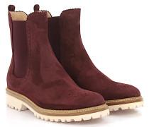 Stiefeletten Boots 7854 Veloursleder bordeaux Lyra-Lochung