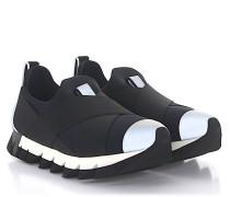 Slip-On IBIZA Stoff Stretchband schwarz grau Reflektorendetails