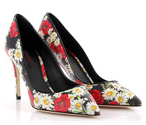 Dolce & Gabbana Pumps Decollete Saffiano schwaz Blumenmuster