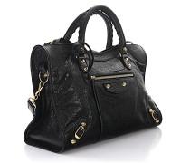 Handtasche Schultertasche Classic City Leder crinkled Nieten gold