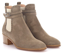 Stiefeletten Boots 7921 Veloursleder taupe Lyra-Lochung