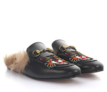 Slipper Glasgow Leder Lammfell Horsebit-Detail Stickerei Katze