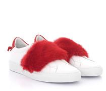 Sneaker BE09192 Leder weiss Nerzfell rot