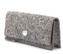 Clutch FIE Leder gold Spitze silber