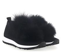 Sneaker NORWAY Stoff Sternenprint Pompons Fuchsfell