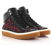 Sneakers High Argyle Saffianoleder Denim schwarz Sternverzierung
