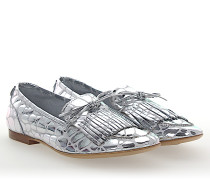 Slipper D744009 Leder metallic Fransen